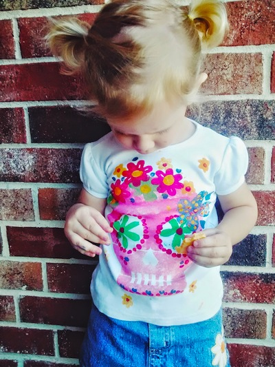 Plenty of Paprika DIY sugar skull shirt with stencil for Day of the Dead