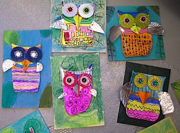 3D mixed media owl art project