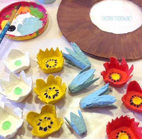 The Crafty Crow fall egg carton wreath craft DIY painting egg carton flowers copy