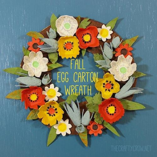 The Crafty Crow fall egg carton wreath craft DIY copy