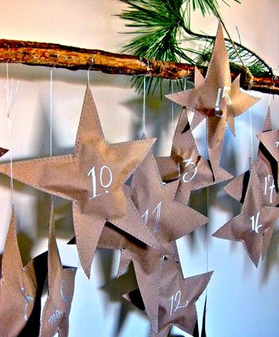 falling paper stars advent calendar