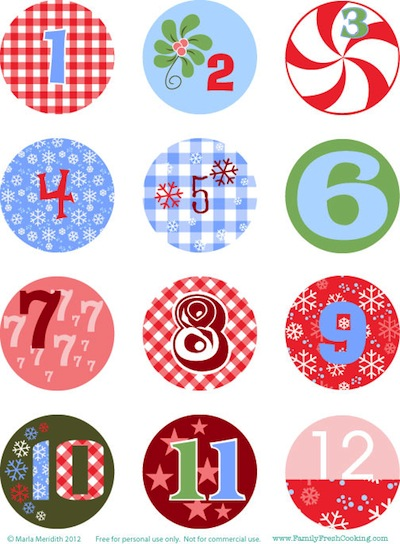 Family Fresh Cooking free printable advent calendar tags