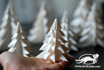 folded paper pine trees