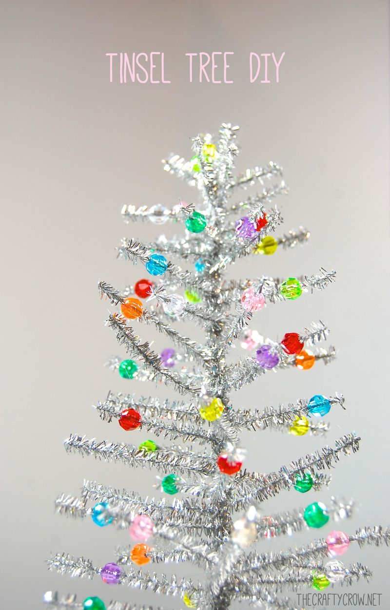 The Crafty Crow chenille stem tinsel tree DIY