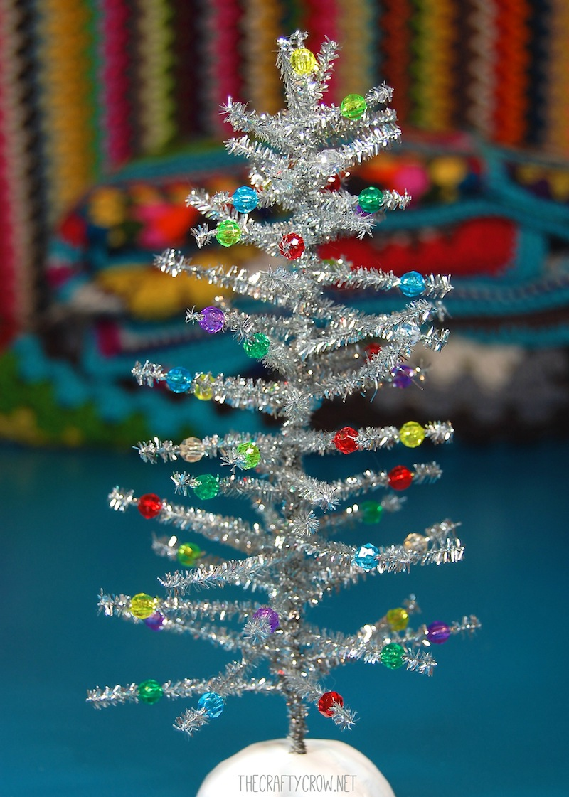 The Crafty Crow chenille stem tinsel tree DIY finished