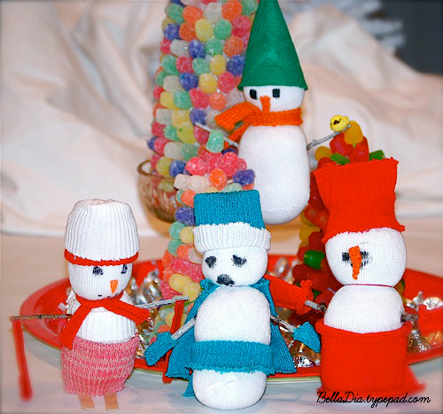 Bella Dia sock snowman craft DIY for kids