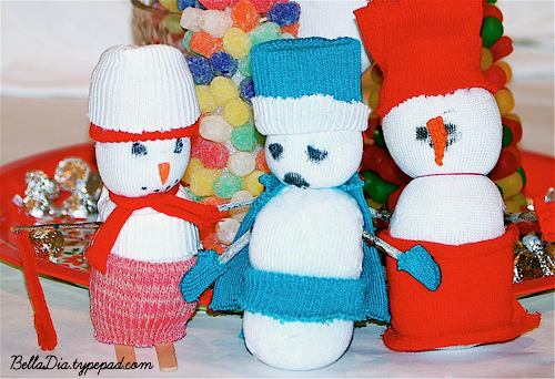 Bella Dia sock snowman craft tutorial for kids