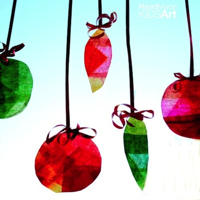 Christmas tissue paper suncatcher ornament