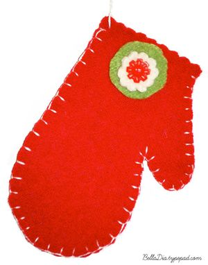 Bella Dia Christmas Book and Craft Advent felt mitten ornaments tutorial