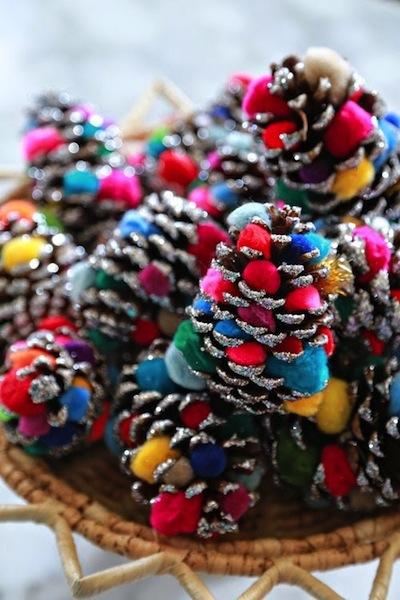 glittered pompom pine cone ornaments