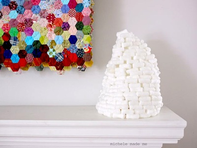 packing peanut snow tower lantern