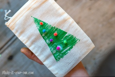 tree stamped gift bags craft