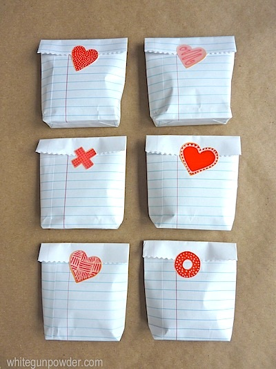 notebook paper favor bags