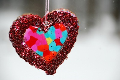 glittery salt dough heart sun catchers Valentine's Day craft