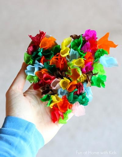 Tissue Paper Heart Valentine Craft For Kids