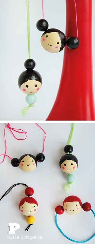 wood bead doll face necklace craft for kids
