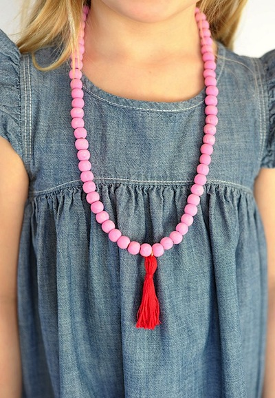 wood bead tassel necklace Valentine's Day craft for kids