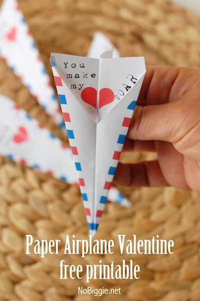 free printable paper airplane Valentine card