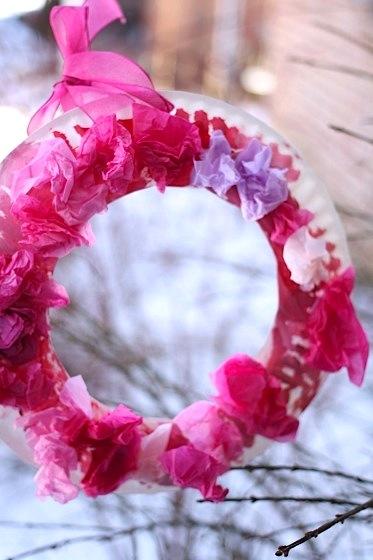 pink tissue paper wreath Valentine's Day craft for kids