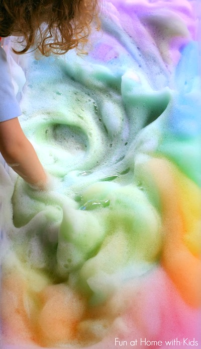 rainbow soap bubbles sensory idea for kids
