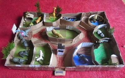 cardboard box zoo craft activity for kids