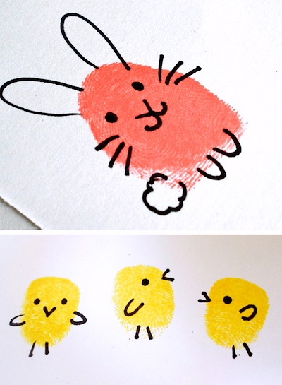 bunny and chick fingerprint craft