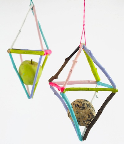 painted stick birdfeeders