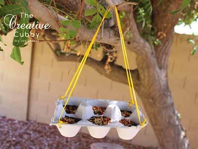 egg carton homemade bird feeder