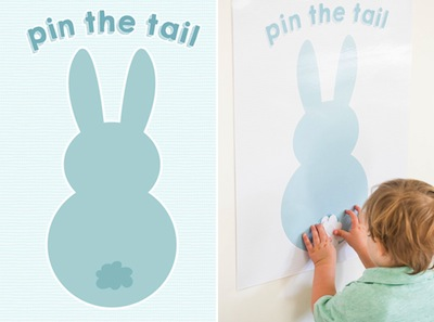Easter game pin the tail on the bunny for kids