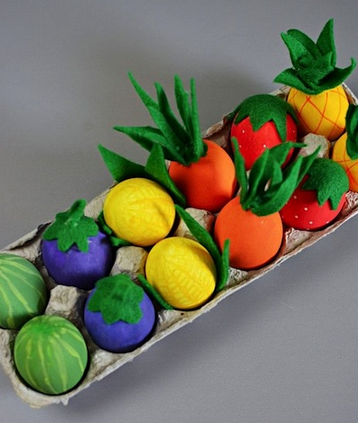 fruit and vegetable Easter egg decorating idea