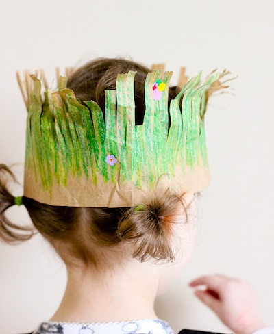 paper bag grass crown for Earth Day craft