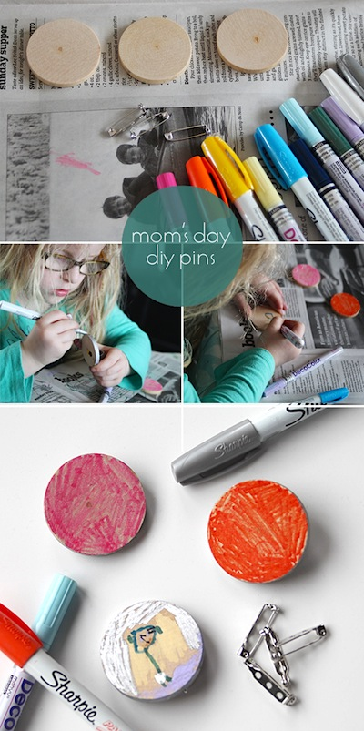 easy children's art brooches kids can make for Mother's Day gift