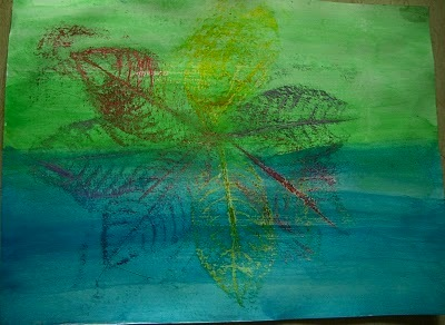 crayon leaf resist with art paper background