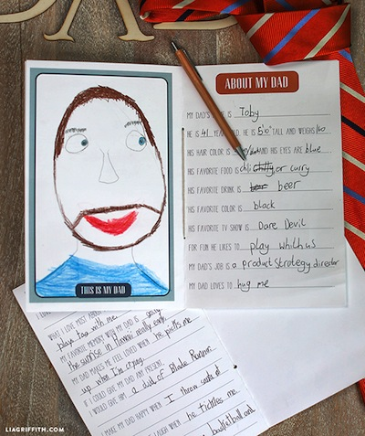 printable Father's Day book for kids to give