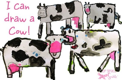 how to draw a cow farm craft for kids