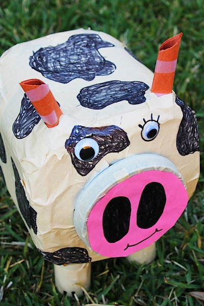upcycled bull farm craft for kids