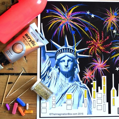 4th of July printable to color and decorate