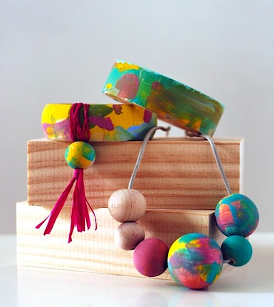 painted wood jewelry kids can make