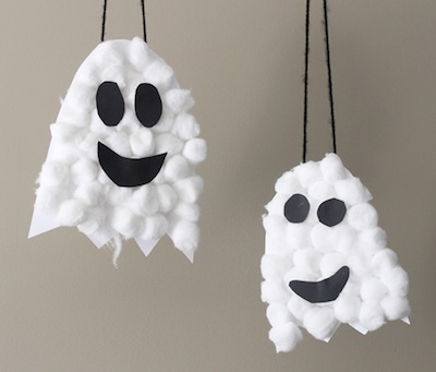 cotton ball ghosts Halloween craft