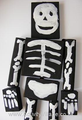 recycled box skeleton mobile Halloween craft