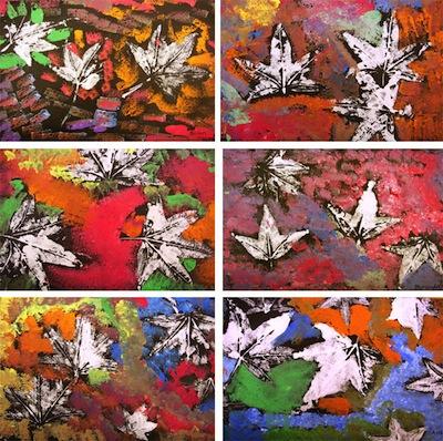 fall leaves printmaking art lesson for kids