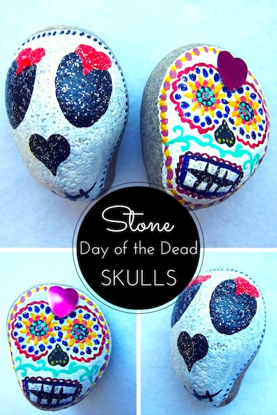 rock painting Day of the Dead sugar skulls