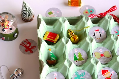 egg carton advent calendar