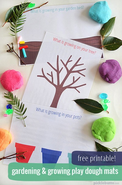 garden playdough mat free printable