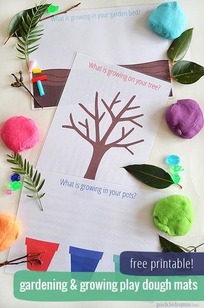 garden playdough mat free printable