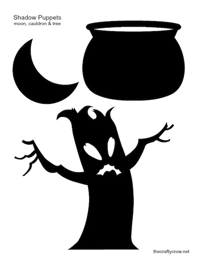 The Crafty Crow shadow puppets printable moon cauldron tree