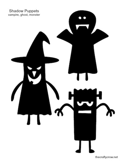 The Crafty Crow shadow puppets printable vampire ghost monster