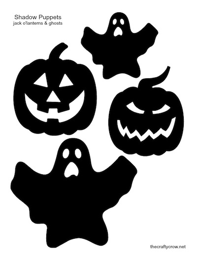 The Crafty Crow shadow puppets printable jack o'lanterns ghosts