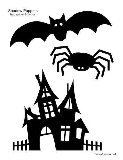 The Crafty Crow shadow puppets printable bat spider haunted house