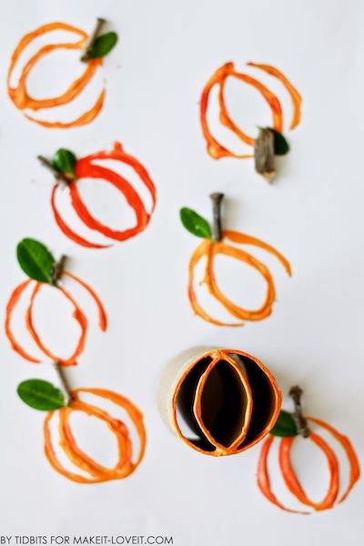 toilet paper roll pumpkin printing Halloween craft